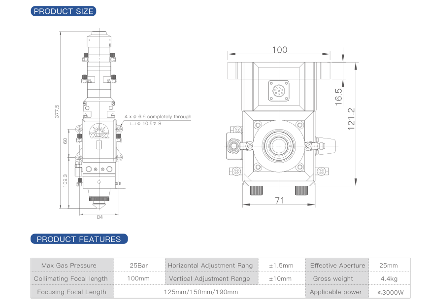 NC30B Automatic Focusing Fiber Laser Cutting Head