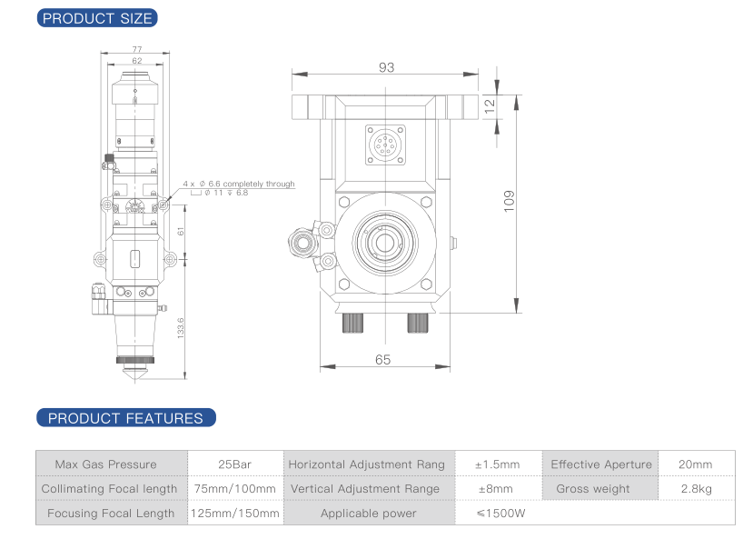 NC12 Automatic Focusing Fiber Laser Cutting Head